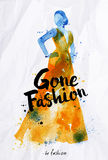 Watercolor poster lettering gone fashion Royalty Free Stock Photo