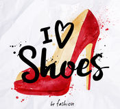Watercolor poster lettering i love shoes Stock Image