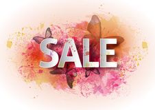 Watercolor poster sale. A bright watercolor background with butt Royalty Free Stock Photo