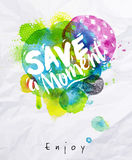Watercolor poster save the moment Royalty Free Stock Photography