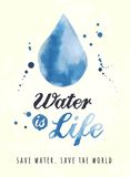 Watercolor poster for water preservation Royalty Free Stock Photography