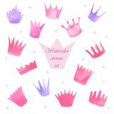 Watercolor princess crowns set Stock Image