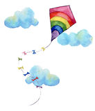 Watercolor print with rainbow air kite and clouds. Hand drawn vintage kite with flags garlands and retro design Royalty Free Stock Photos