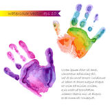 Watercolor print of two hands Royalty Free Stock Photography