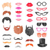 Watercolor props set. Vector collection of mustache, beards, haircuts, lips and sunglasses. Birthday party photo booth props Stock Photo