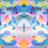 Watercolor psychedelic abstract art illustration. Raster trendy modern illustration. Seamless pattern Stock Photo