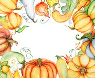 Watercolor pumpkin and autumn leaves card. Harvest composition. Happy Thanksgiving day. Hand drawn illustration Stock Images