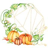 Watercolor pumpkin and autumn leaves wreath. Harvest composition. Happy Thanksgiving day. Hand drawn illustration Royalty Free Stock Images