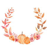 Watercolor Pumpkin Autumn Wreath Garland Frame Fall Leaves Circle Flowers Berry Leaf Stock Image