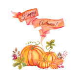 Watercolor pumpkins with leaves and ribbon Royalty Free Stock Image