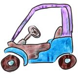 Watercolor purple car cartoon figure, isolated on. Watercolor purple car cartoon figure, isolated white background Royalty Free Stock Image