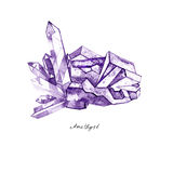Watercolor purple crystal amethyst cluster hand drawn painting illustration isolated on white background. Tanzanit gem stones for design fashion advertising royalty free illustration