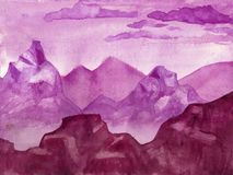 Watercolor purple landscape -Background wiyh space for text. Pur Stock Image