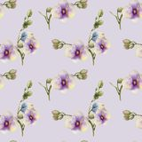 Watercolor purple orchids seamless pattern. Hand painted on a light purple background Royalty Free Stock Images