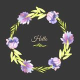 Watercolor purple peonies and green branches wreath, greeting card template. Hand painted on a dark background Stock Images