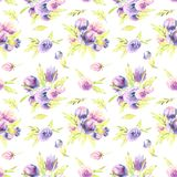 Watercolor purple peonies and roses bouquets seamless pattern. Hand painted on a white background Stock Images