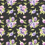 Watercolor purple peonies and roses bouquets seamless pattern. Hand painted on a dark background Stock Image
