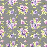 Watercolor purple peonies and roses bouquets seamless pattern. Hand painted on a grey background Stock Photo