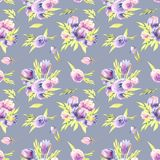 Watercolor purple peonies and roses bouquets seamless pattern. Hand painted on a grey blue background Royalty Free Stock Images