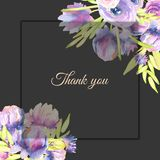 Watercolor purple peonies and roses card template, Thank you card design. Hand painted on a dark background Stock Photography
