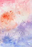 Watercolor purple and red background with splashes Stock Photo