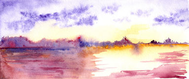 Watercolor purple sunset sunrise river lake landscape Royalty Free Stock Images