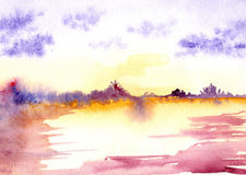 Watercolor purple sunset sunrise river lake landscape Royalty Free Stock Photography