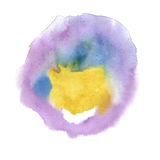 Watercolor purple yellow blobs on white background, abstract stains isolated. illustration the watercolor Vector Illustration