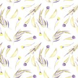 Watercolor purple and yellow simple flowers, leaves and branches seamless pattern. Hand painted on a white background Royalty Free Stock Images