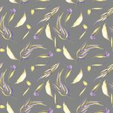 Watercolor purple and yellow simple flowers, leaves and branches seamless pattern. Hand painted on a grey background Stock Images