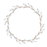 Watercolor Pussy-willow Branches Wreath Stock Photos