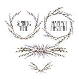 Watercolor pussy-willow wreath and vignettes Stock Photography