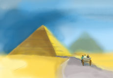 Watercolor of a pyramid in Giza. The only one of the Seven Wonders of Ancient world Royalty Free Stock Photography