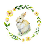 Watercolor rabbit sitting on grass with yellow flower and herbs wreath. Royalty Free Stock Images