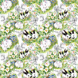 Watercolor rabbits with flowers seamless pattern vector illustration Stock Photos