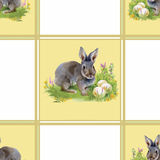 Watercolor rabbits with flowers seamless pattern vector illustration Royalty Free Stock Photos