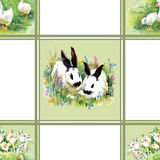 Watercolor rabbits with flowers seamless pattern vector illustration Stock Image