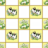 Watercolor rabbits with flowers seamless pattern vector illustration Stock Photo