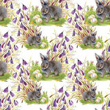 Watercolor rabbits with flowers seamless pattern vector illustration Stock Images