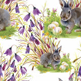 Watercolor rabbits with flowers seamless pattern vector illustration Royalty Free Stock Photography