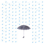 Watercolor rain and umbrella. Royalty Free Stock Photos