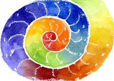 Watercolor a rainbow. Water color of the image a rainbow in the form of a spiral Stock Images