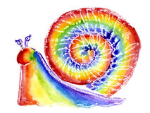 Watercolor a rainbow. Watercolor a snail in the form of a rainbow Stock Photo