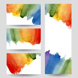 Watercolor rainbow banners set Royalty Free Stock Image