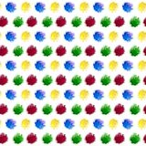 Watercolor rainbow blotch splashes of red yellow blue and green color isolated on white background. Seamless repeat pattern for stock illustration