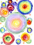 Watercolor a rainbow circles. Watercolor, multi-colored circles on a white background Royalty Free Stock Photography