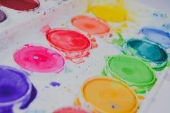 Watercolor rainbow colors stock photo