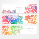 Watercolor rainbow flowers. Banners, flyers Royalty Free Stock Photography
