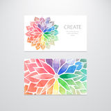 Watercolor rainbow flowers. Business cards Stock Image