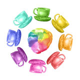 Watercolor rainbow  frame with cups. Stock Photography